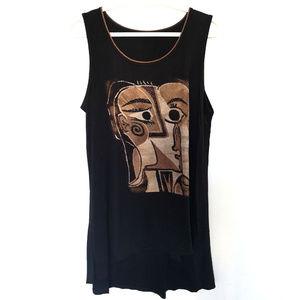 Tops - Women Longline Sleeveless Cottton Blend Shirt L